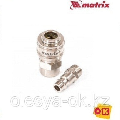 Набор переходников, быстросъемное соединение, резьбовое соед, 2 шт, внутр. D 1/4. MATRIX