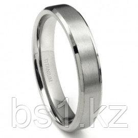 Titanium 5mm Beveled Wedding Band Ring w/ Brushed Center