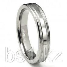 Titanium 4mm Milgrain Flat Wedding Band Ring