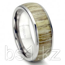 Titanium 8MM Domed Ashen Zebra Rosewood Inlay Wedding Band Ring