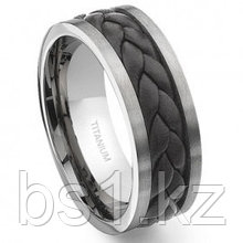 Titanium Brown Braided Leather Wedding Band Ring