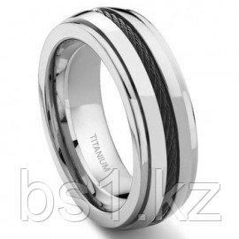 Titanium 8MM Black Cable Ring