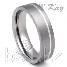Titanium Silver Inlay Wedding Ring