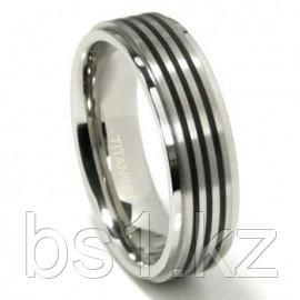 Titanium 7MM Satin Finish Wedding Band Ring w/ 3 Black Lines
