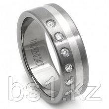 Titanium Silver Inlay Diamond Wedding Ring