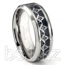 Titanium 8MM Masonic Symbol Inlay over Black Carbon Fiber Inlay Wedding Band Ring