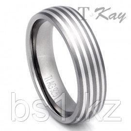 Titanium 4 Stripe Silver Inlay Wedding Dome Ring