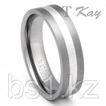 Flat Titanium Silver Inlay Wedding Ring