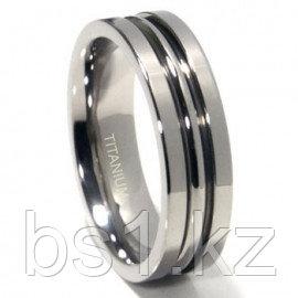 Titanium 7mm High Polish Ribbed Wedding Band Ring