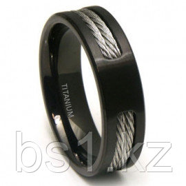 Black Titanium Double Cable Wedding Band Ring