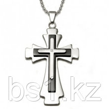 Two Tone Stainless Steel Diamond Cross Pendant