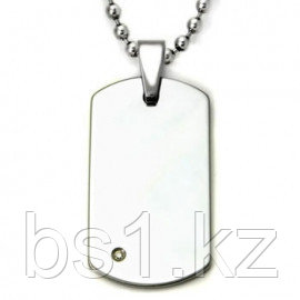 Tungsten Carbide Diamond Dog Tag Pendant w/ Bead Chain