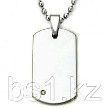 Tungsten Carbide Diamond Dog Tag Pendant w/ Bead Chain