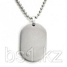 Nitrogen-LG Stainless Steel Diamond Dog Tag Pendant w/ Bead Chain