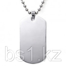 Stainless Steel Engravable Dog Tag Pendant w/ Bead Chain