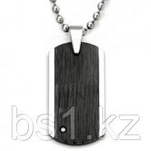 Tungsten Diamond Hammer Finish Dog Tag Pendant w/ Bead Chain