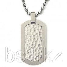 Titanium Hammered Dog Tag Pendant w/ Bead Chain
