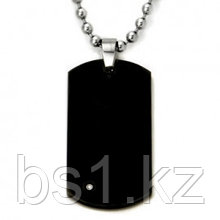 Black Tungsten Diamond Dog Tag Pendant w/ Bead Chain