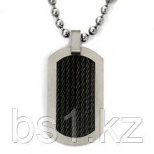 Black Titanium Cable Dog Tag Pendant w/ Bead Chain