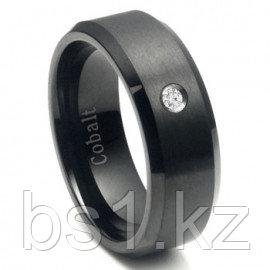 Cobalt Chrome Black Plated Diamond Wedding Band Ring