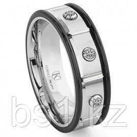 Cobalt XF Chrome 8MM Two Tone Diamond Wedding Band Ring