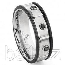 Cobalt XF Chrome 8MM Two Tone Black Diamond Wedding Band Ring
