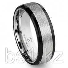 Cobalt XF Chrome 8MM Italian Di Seta Finish Two-Tone Flat Wedding Band Ring w/ Rounded Edges