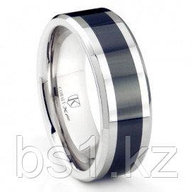 Cobalt XF Chrome 8MM Two Tone Beveled Polished Wedding Band Ring