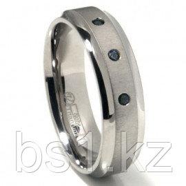Titanium 7mm Swarovski Crystal Wedding Band Ring