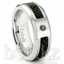 Cobalt Chrome 8MM Black Diamond & Black Carbon Fiber Inlay Wedding Band Ring