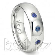 Cobalt Chrome 7MM 3 Blue Sapphire Domed Wedding Band Ring