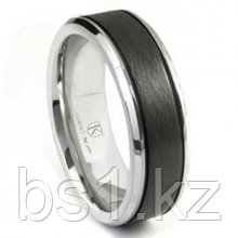Cobalt XF Chrome Two Tone Di Seta Finish Wedding Band Ring w/ Grooves