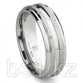 Cobalt XF Chrome 8MM Wedding Band With Raise Bars