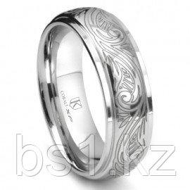 Cobalt XF Chrome 8MM Laser Engraved Paisley Motif Dome Wedding Band Ring