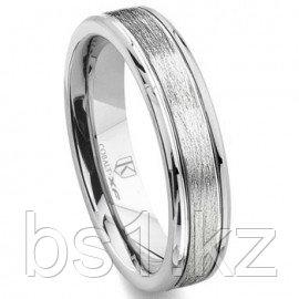 Cobalt XF Chrome 4MM Flat Wedding Band Ring w/ Brush Center