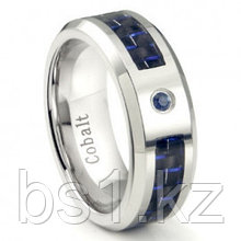 Cobalt Chrome 8MM Blue Sapphire & Blue Carbon Fiber Inlay Wedding Band Ring