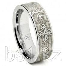 Cobalt XF Chrome Laser Engraved Wedding Band Ring w/ Cross Designs
