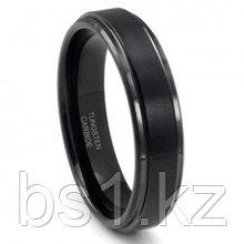 Black Tungsten Carbide Wedding Band Ring w/ Raised Center