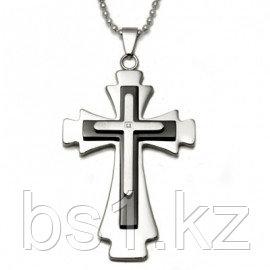 Two Tone Stainless Steel Diamond Cross Pendant