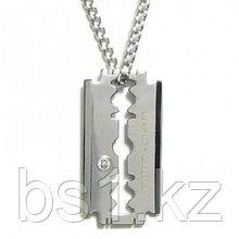 Nitrogen Stainless Steel Razor Blade Diamond Pendant w/ Curb Chain