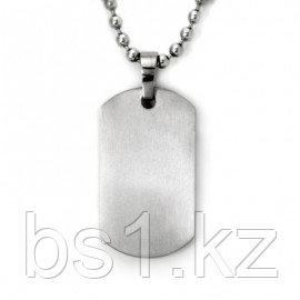 Titanium Engravable Dog Tag Pendant w/ 3mm Bead Chain