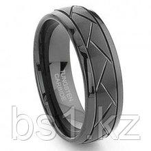 Black Tungsten 8MM Diamond Cut Dome Wedding Band Ring
