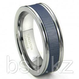 Tungsten Carbide Blue Ceramic Inlay Wedding Band Ring w/ Horizontal Satin Finish