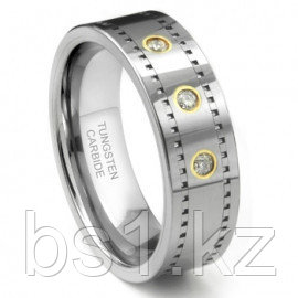 Tungsten Carbide 14K Gold Diamond Milgrain Wedding Band Ring