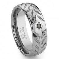 Tungsten Carbide Chevron Black Diamond Wedding Band Ring