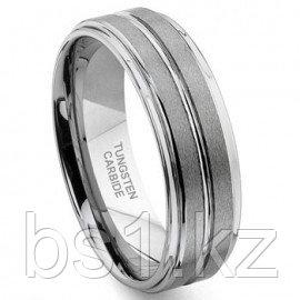 NICCOLO Tungsten Carbide Ribbed Satin Wedding Band Ring
