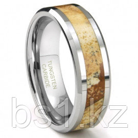 Tungsten Carbide Igneous Riverstone Inlay Wedding Band Ring