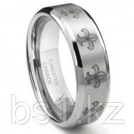 Tungsten Carbide Fleur De Lis Wedding Band Ring