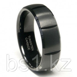 Black Tungsten 8MM Dome Wedding Band Ring w/ horizontal grooves