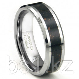 Tungsten Carbide Black Lava Riverstone Inlay Wedding Band Ring